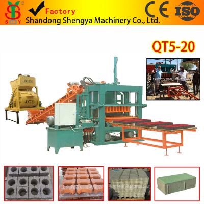 QT5-20 hydraulic press fully automatic concrete block making machine supplier in China