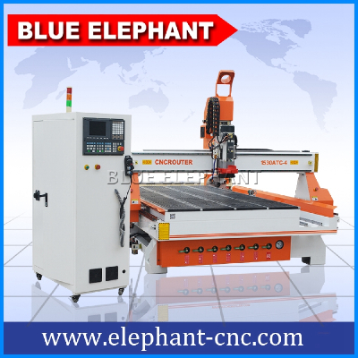 ELE 1530 automatic cabinet door making machine , linear atc cnc router woodworking machine with rotate axis