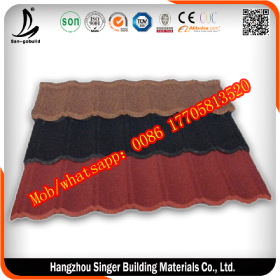 Colored Stone Chip Coated Steel Roofing Tile