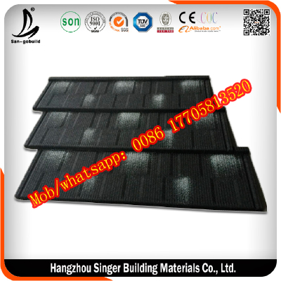 Black and white color stone coated metal roof tile