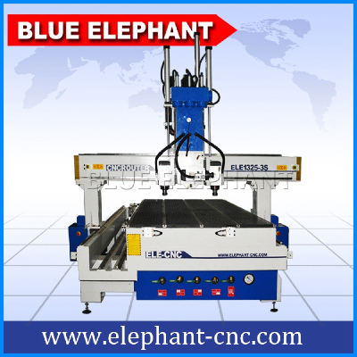 ELE 1325-3S pneumatic system 3 spindle cnc router , 3d cnc wood carving machine with atc function