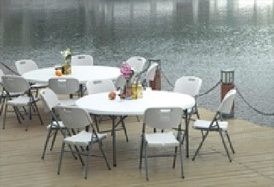 wholesale 5foot Plastic Outdoor Round Table Lightweight Suitcase weddingevents Folding dining Table