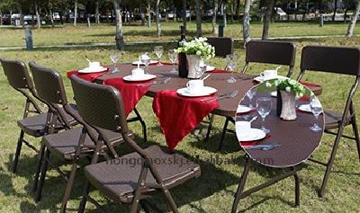 6foot rattan rectangular Outdoor Portable Folding Camp Suitcase Camping Picnic Table