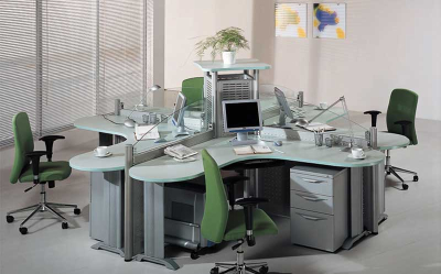 Modern office furniture 4 person office workstation with partition for office